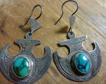 STERLING HILL TRIBE Sterling and Turquoise  etched earrings
