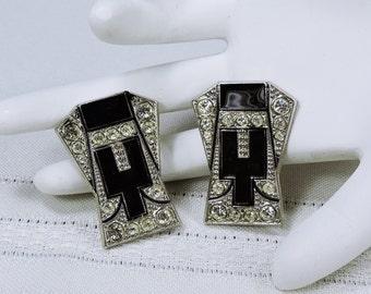 Vintage Art Deco Rhinestone and Enamel Clip on Earrings