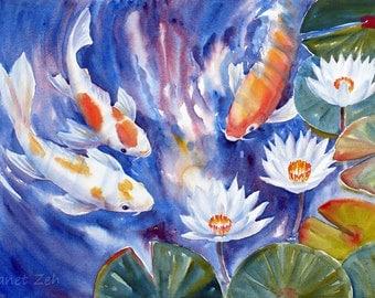 Koi Fish Painting Original Watercolor Art Waterlily Pond 14x21 by Janet Zeh Original Art