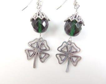 Clearance - Lucky four leaf clover earrings