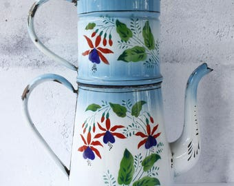 French Antique Enamel Coffee Pot...Shabby Chic