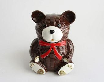 Vintage Otagiri Bear Bank Basketweave Ceramic 1979