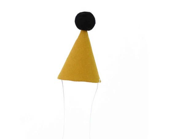 Birthday Party Hat - linen party hat in mustard, baby party hat, pom pom hat