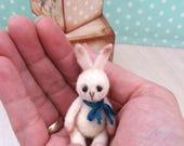 Baby - Pinkies, OOAK rabbit, tiny bunny, artist bunny, antique style bunny, felted rabbit, miniature bunny, vintage bunny, dollhouse bunny