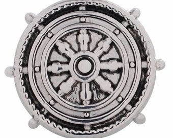 1 PC 18MM Nautical Helm Silver Candy Snap Charm kc5100 CC3234