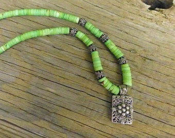 Lime green turquoise and silver necklace