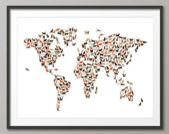 Cats Map of the World Map, Art Print (2545)