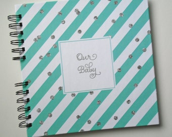 Baby Book |  Baby Memory Album | Mint Stripe Silver Glitter Dots Wire Bound Baby Memory Book
