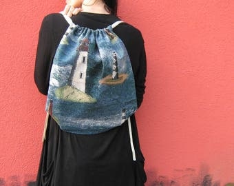 To the Lighthouse - Handmade Tapestry Vintage Backpack