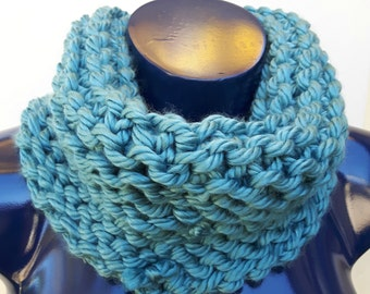 Super Warm Ocean Blue Chunky Knit Cowl Infinity Scarf