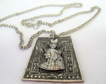Nefertiti Pendant Necklace - Egyptian Revival  - Long Silver Tone Chain