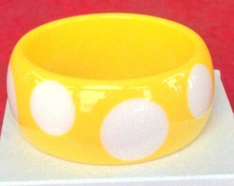 Yellow Polka Dot Bangle  - Wide Lucite Bracelet - Summer Into Fall Bangle