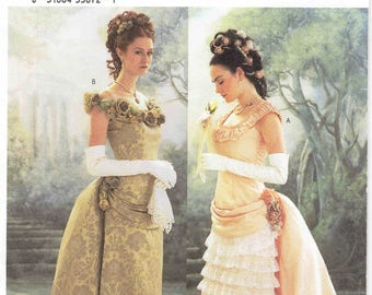 Making History Butterick 3012 Victorian Dress Pattern.  Floor Length Gown w/ Pleated Detachable Train with Bustle. Uncut sizes 6-8-10