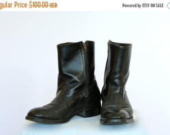 20% OFF SALE 70's Vintage Men's Boots, 9D Motorcycle Boots, Black Leather Boots, Ankle Boots