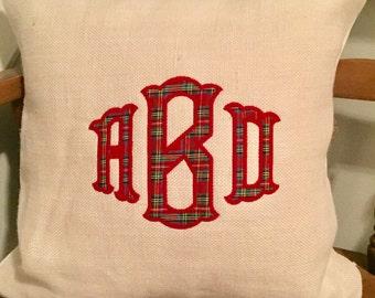 Tartan plaid monogram decorative pillow