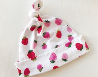 Baby knit pink white strawberries knot hat