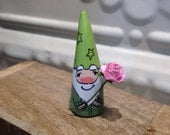 Great Valentine's Day Gift Garden Gnome Garden Gnome with pink paper rose - green shirt with lime green hat - Terrarium Miniature