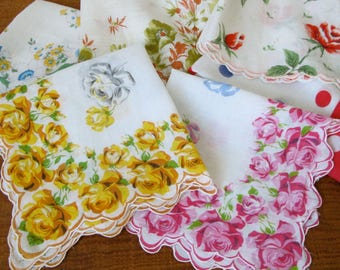 Vintage Set of 6 Handkerchiefs Shabby Chic Napkins