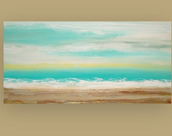 """Art Painting, painting, large painting,acrylic painting, landscape Painting , Acrylic painting, Ora Birenbaum Touch Of Sun 24x48x1.5"""""""