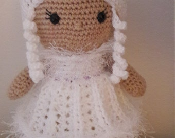 Weebee Princess Doll. Laura Tegg design. Crochet Doll. Choice of extra outfit. Cute Doll. White princess dress. Party Dress. Wig. Ringlets