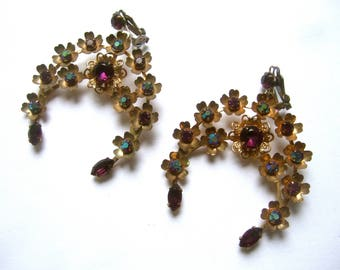 Exquisite Amethyst Color Crystal Clip on Earrings c 1960