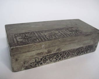 Vintage Hand Made Rectangular Patterned Tin Overlay Storage Box Espana Spain