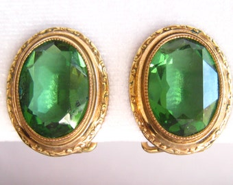 Rolled Gold &  Faceted Bright Green Rhinestone Earrings from 1930's or 1940's.  Beautiful  Detailed Bezel Frame Settings.  Triangular clips