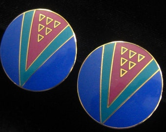 """Large Laurel Burch Enamel Earrings. """"Wu-Yi"""" Collection.  Round with Royal Blue, Magenta & Teal Geometric Abstract Design. Gold Lines.  Clips"""