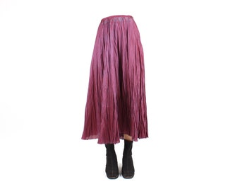 80s SILK / Two Tone / Duo Tone Origami Crinkle Pleated Micropleat Holographic Metallic Shiny High Waisted / Elastic Waist Midi / Maxi Skirt