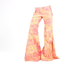 90s Rainbow Pastel Tie Dye Huge CYBER Rave BELL BOTTOMS Flares Pants