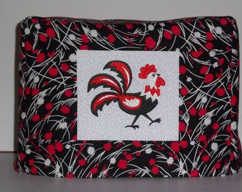 Two Slice Toaster Cover, Black and Red Rooster , Quilted Toaster Cover