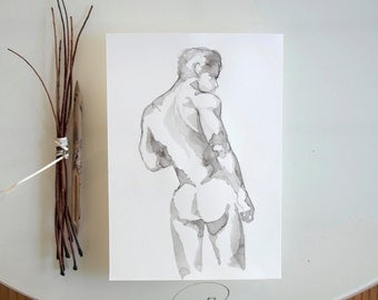 Male nude art -Original drawing-Back nude, modern art,male pose, nude painting on paper, male drawing,pencil drawing, nu by Cristina Ripper