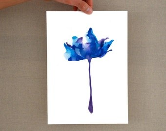 Blue Tulip Flower - Original Glicee Print from original drawing -Floral print,movement,modern floral glicee print,minimal flower,minimalist