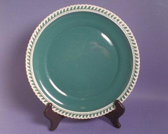 Dinner Plate, Chesterton Pattern, Teal Green, Corinthian White Rope Rim, Pate Sur Pate, HarkerWare Pottery