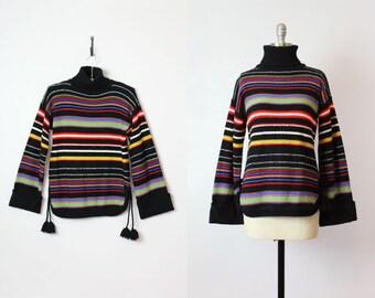 vintage 70s striped sweater / 1970s dark striped knit sweater / wide bell sleeve sweater / tassel tie sweater / black turtleneck jumper