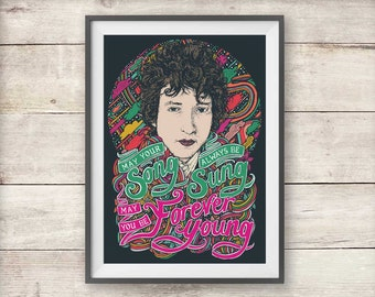 Bob Dylan - Forever Young - Song Lyric - Print