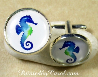 Seahorse Cufflinks, Seahorse Mens Gifts, Beach Wedding Cufflinks, Beach Bridal Cufflinks, Groomsmen Gifts, Seahorse Fathers Day Gifts