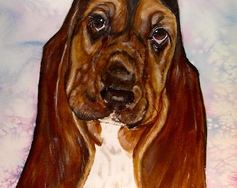 Basset Hound Original Watercolor Painting, Basset Hound Painting, Basset Hound Watercolor, Watercolor Basset Hound, Painting of Basset Hound
