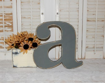 """Distressed Wooden Letter """"a"""" Wall Decor / Wedding Decor Lowercase Wood Letters"""