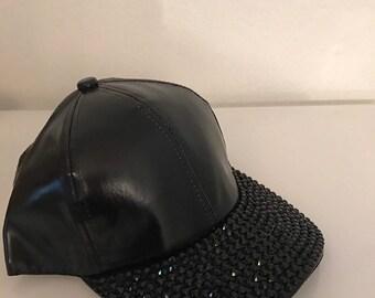 Glossy Glam Black Bling studded Baseball Cap Hat