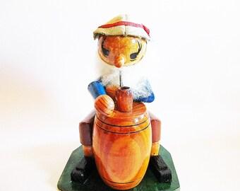 German Vintage Handmade Erzgebirge Man with Pipe and Barrel Incense Smoker Man + 1 FREE Box German Incense Cones