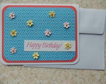 Birthday card - blue quatrefoil and flowers