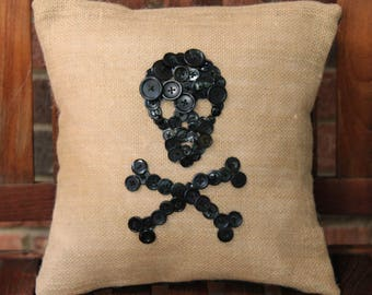 Skull & Crossbones Buttons Hand Stitched on Burlap Pillow Cover