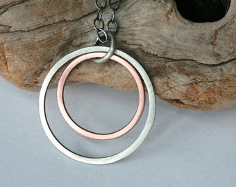 "Minimalist Mixed Metal Sterling Silver and Copper Necklace on 20"" Oval Cable Chain"