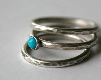 "Rustic Hammered Sterling Silver and Sleeping Beauty Turquoise Stacking Ring Set in Antique Silver ""Gunmetal"" Patina"