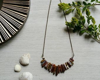 Maroon Spike Stone Necklace / Neutral Stone Bib Necklace - Ready to Ship Jewelry (S)