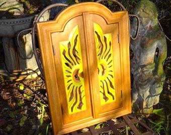 Furniture, Mirror, Sunburst, Arched Mirror, Cabinet, Shutter Mirror, Wood Mirror, Boho, Yellow, Orange, Eclectic, Bohemian, Entryway, Casa
