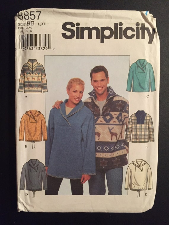 Simplicity 90s Sewing Pattern 8857 Misses, Mens & Teens Knitted Top Size L and XL