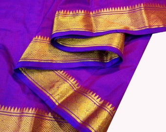 Purple and Gold Soft Silk Fabric - Gold Border Fabric - South Indian Silk Fabric - Wedding Costume Fabric - Evening Dress Fabric