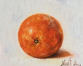 Orange Original Oil Painting by Nina R.Aide Kitchen Fruit Art Small Painting Canvas  6x6x1:8 inch
